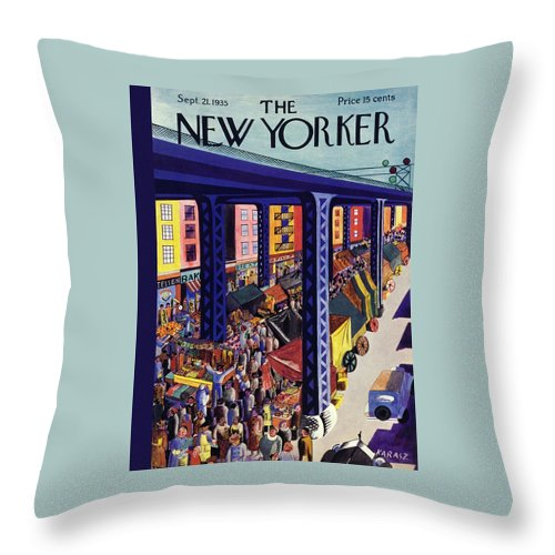 Travel Throw Pillow featuring the painting New Yorker September 21 1935 by Ilonka Karasz