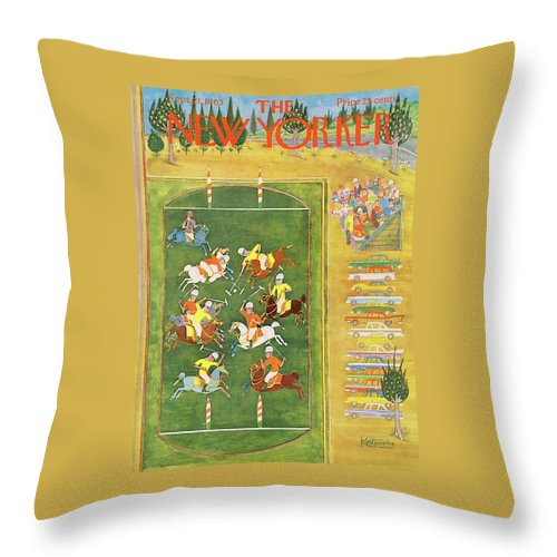 Sport Throw Pillow featuring the painting New Yorker September 21st, 1963 by Anatol Kovarsky