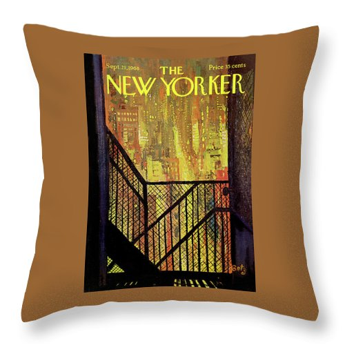 Arthur Getz Agt Throw Pillow featuring the painting New Yorker September 21st, 1968 by Arthur Getz