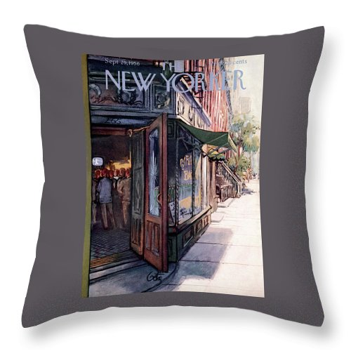 Suburb Throw Pillow featuring the painting New Yorker September 29th, 1956 by Arthur Getz