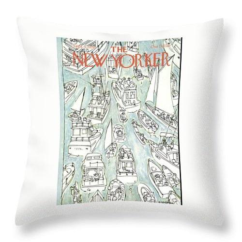 James Stevenson Jst Throw Pillow featuring the painting New Yorker September 4th, 1978 by James Stevenson