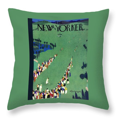 Sport Throw Pillow featuring the painting New Yorker September 5 1936 by Arthur K Kronengold