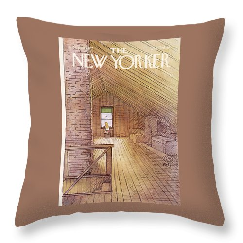 Attic Throw Pillow featuring the painting New Yorker September 5th, 1977 by Arthur Getz