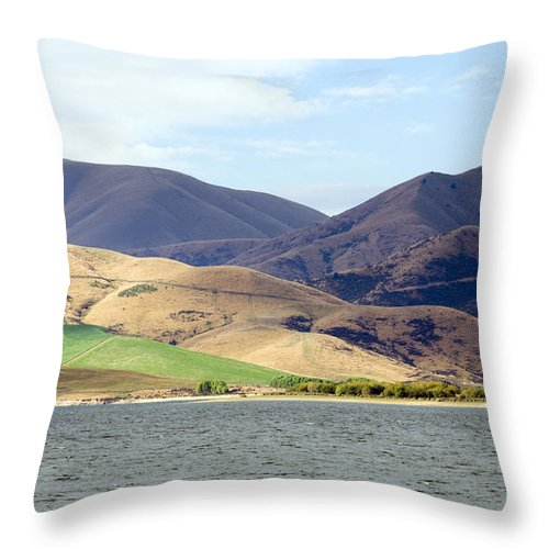 Landscape Throw Pillow featuring the photograph New Zealand by Milena Boeva
