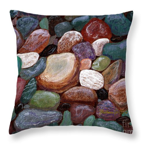 Barbara Griffin Throw Pillow featuring the painting Newfoundland Beach Rocks 2 by Barbara Griffin