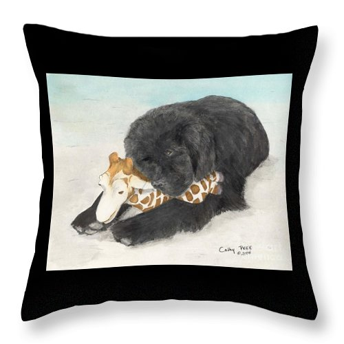 Newfoundland Throw Pillow featuring the painting Newfoundland Dog In Snow Stuffed Animal Cathy Peek Art by Cathy Peek