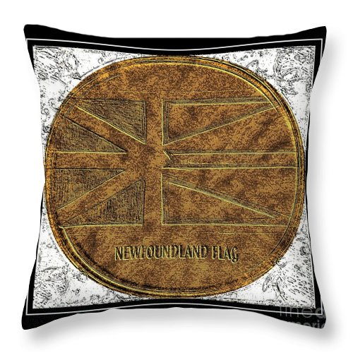 Newfoundland Flag - Brass Etching Throw Pillow featuring the photograph Newfoundland Flag - Brass Etching by Barbara Griffin