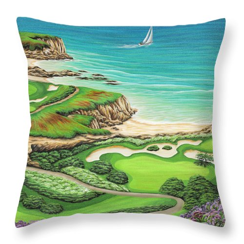 Ocean Throw Pillow featuring the painting Newport Coast by Jane Girardot