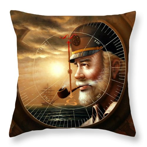 Sea Captain Throw Pillow featuring the painting Imperishable Map Captain 1 by Yoo Choong Yeul