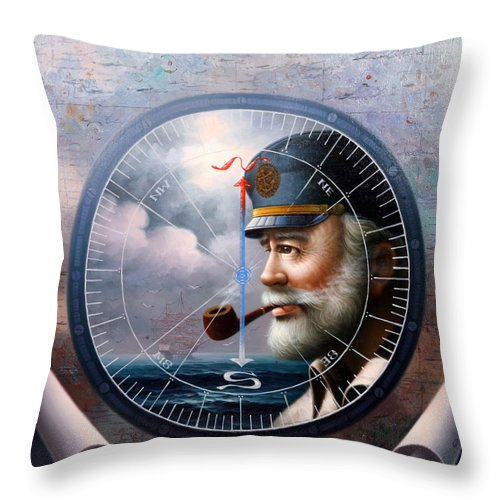 Sea Captain Throw Pillow featuring the painting Imperishable Map Captain 6 by Yoo Choong Yeul