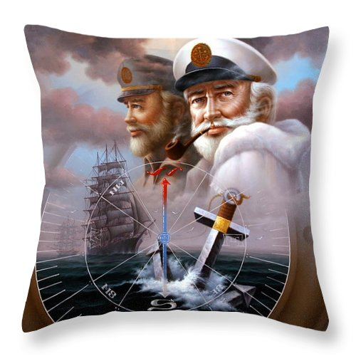 Sea Captain Throw Pillow featuring the painting Imperishable Two Map Captain 4 by Yoo Choong Yeul