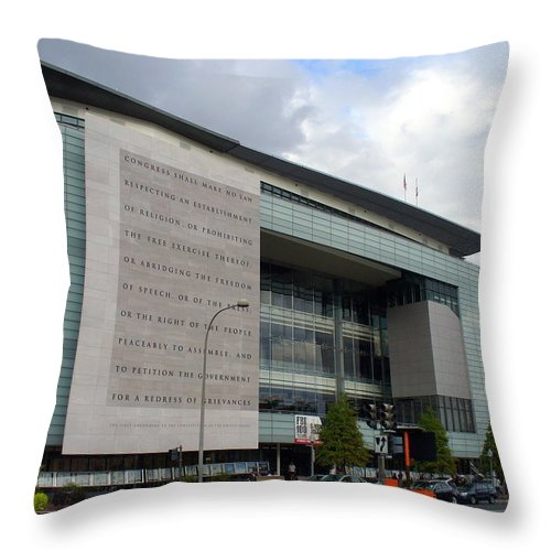 Journalism Throw Pillow featuring the photograph Newseum In Washington Dc by Lingfai Leung