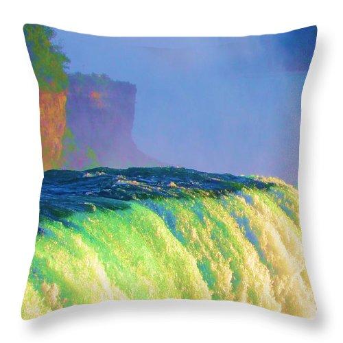 Niagara Falls Throw Pillow featuring the photograph Niagara Falls In Abstract by Allen Meyer