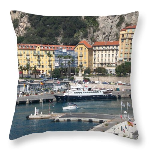 Nice Throw Pillow featuring the photograph Nice Harbor by Christiane Schulze Art And Photography