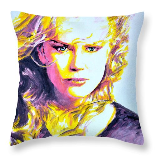 Nicole Throw Pillow featuring the painting Nicole Kidman by Victor Minca