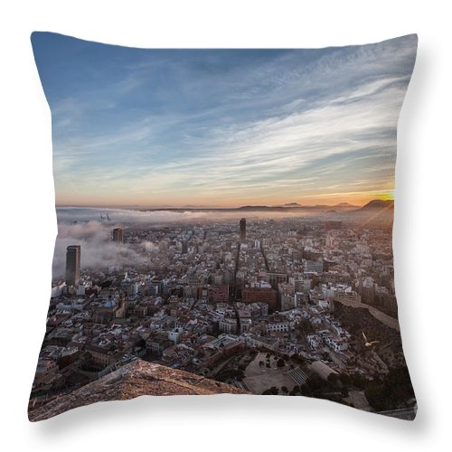 Alicante Throw Pillow featuring the photograph Niebla en Alicante by Eugenio Moya