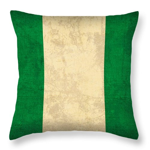 Nigeria Throw Pillow featuring the mixed media Nigeria Flag Vintage Distressed Finish by Design Turnpike