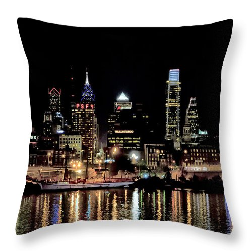 Night Throw Pillow featuring the photograph Night At Penn's Landing - Philadelphia by Bill Cannon
