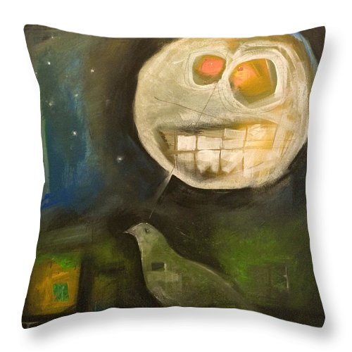 Moon Throw Pillow featuring the painting Night Bird Harvest Moon by Tim Nyberg