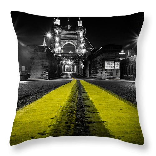 Roebling Throw Pillow featuring the photograph Night Bridge by Keith Allen