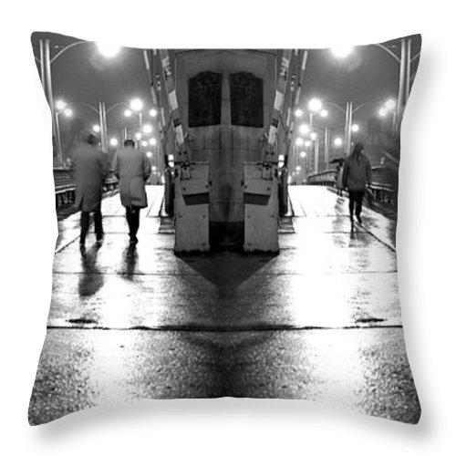 State Street Throw Pillow featuring the photograph Night Bridge by Martin Konopacki