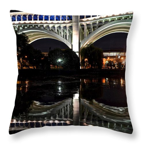 Lights Throw Pillow featuring the photograph Night Bridge by Frozen in Time Fine Art Photography