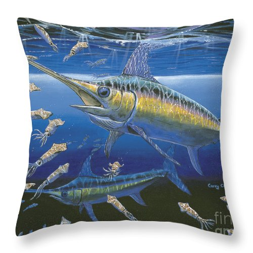 Broadbill Throw Pillow featuring the painting Night Broadbill Off0068 by Carey Chen
