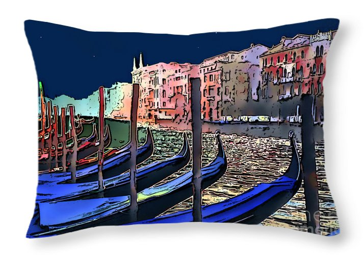 Impressionism Throw Pillow featuring the photograph Night Falls In Venice by Linda Parker