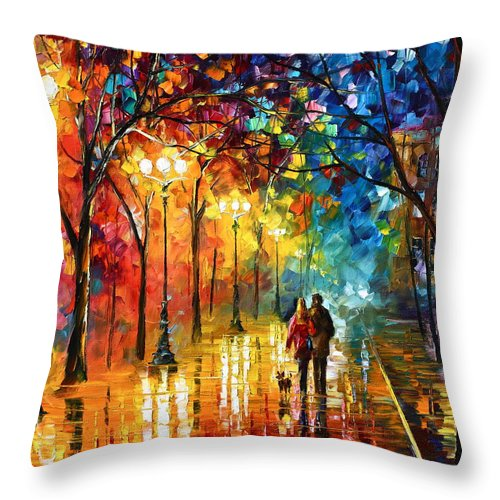 Afremov Throw Pillow featuring the painting Night Fantasy by Leonid Afremov
