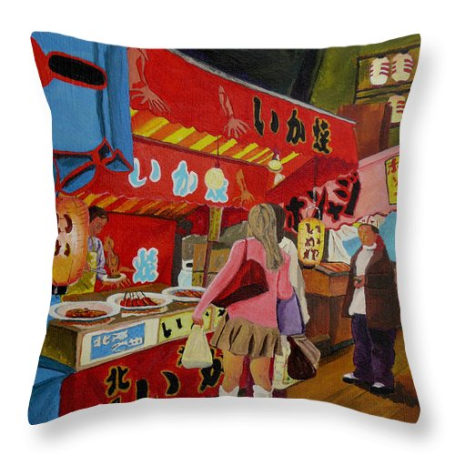 Japan Throw Pillow featuring the painting Night Festival by Anthony Dunphy