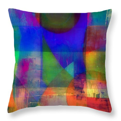 Abstract Throw Pillow featuring the mixed media Night Into Day by Wendie Busig-Kohn