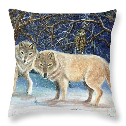 Wolves Throw Pillow featuring the painting Night Life In The Forest by Lora Duguay