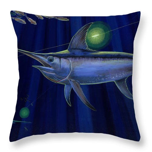 Swordfish Throw Pillow featuring the painting Night Life Off0026 by Carey Chen