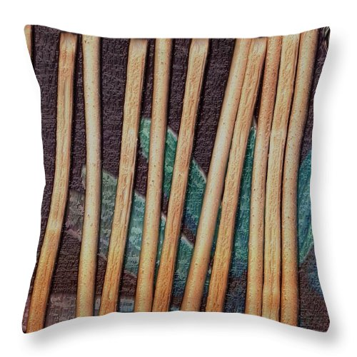 Bread-stick Throw Pillow featuring the mixed media Night On The Bread Stick Planet by Pepita Selles