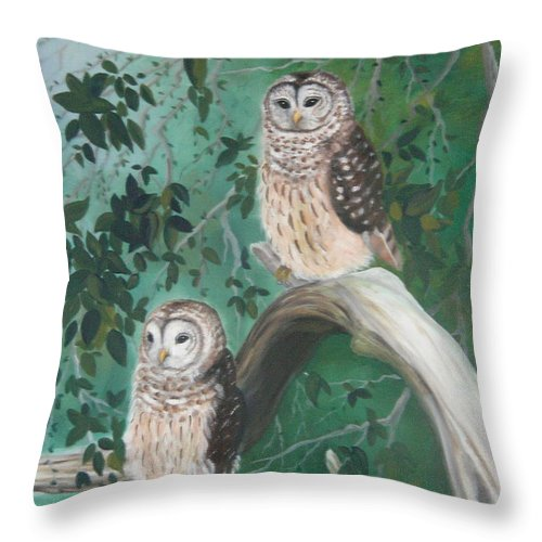 Owls Throw Pillow featuring the painting Night Owls by Lora Duguay