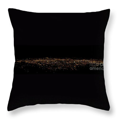 Panorama Throw Pillow featuring the photograph Night Panorama Of Cuenca Ecuador by Al Bourassa