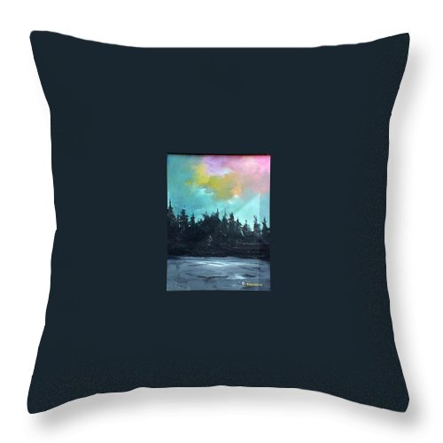 Landscape Throw Pillow featuring the painting Night River by Sergey Bezhinets