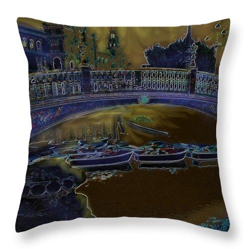 Saville Throw Pillow featuring the digital art Night Shadows In Saville by Ian MacDonald