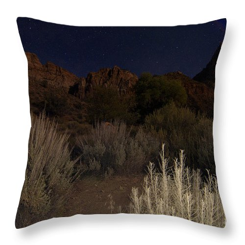 Fine Art Throw Pillow featuring the photograph Night Sky Over Zion II by Angelique Olin