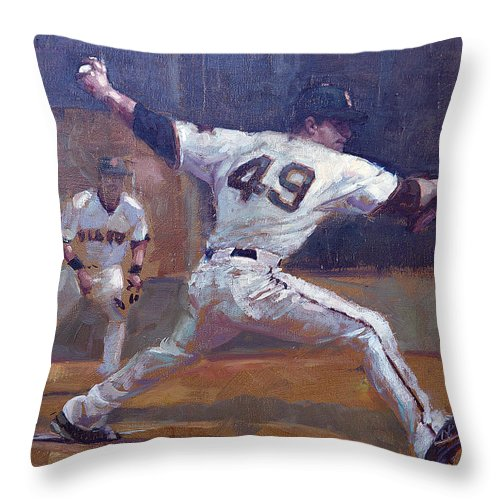 Javier Lopez Throw Pillow featuring the painting Night Train by Darren Kerr
