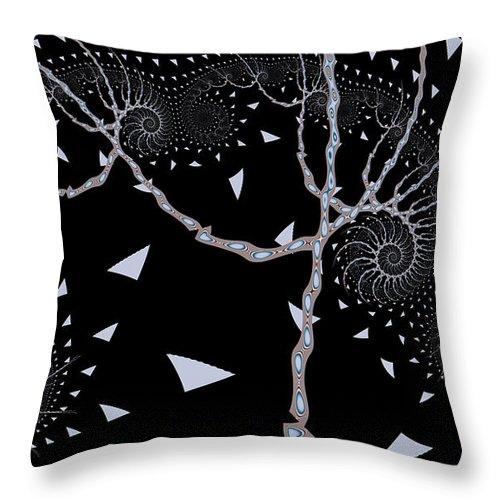 Night Tree Throw Pillow featuring the digital art Night Tree by Fran Riley