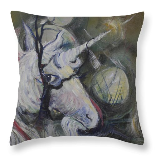 Unicorn Throw Pillow featuring the painting Night Unicorn by Avonelle Kelsey