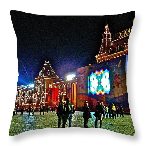 Night View Of Gum-former State Department Store-in Red Square At Night In Moscow Throw Pillow featuring the photograph Night View Of Gum-former State Department Store-in Red Square In Moscow-russia by Ruth Hager