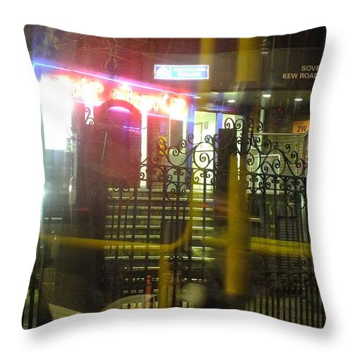 London Throw Pillow featuring the photograph Nightbus Iv by Artist Geoff Francis