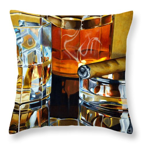 Whiskey Throw Pillow featuring the drawing Nightcap 2 by Cory Still