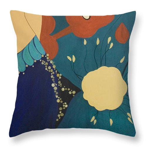 #stars Throw Pillow featuring the painting Nightfall by Jacquelinemari