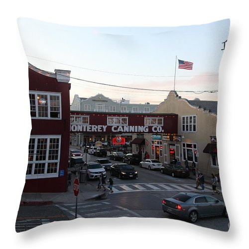 Monterey Throw Pillow featuring the photograph Nightfall Over Monterey Cannery Row California 5d25146 by Wingsdomain Art and Photography