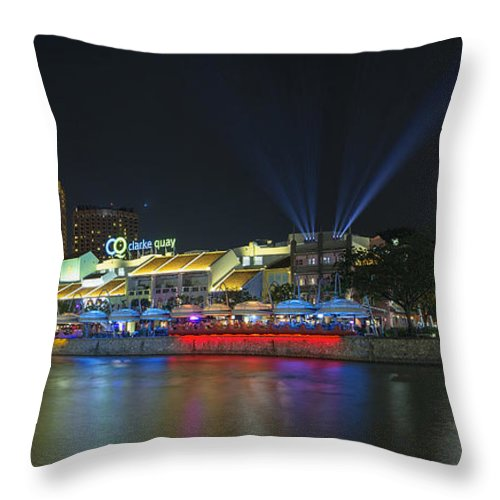 Clarke Throw Pillow featuring the photograph Nightlife At Clarke Quay Singapore by Jit Lim