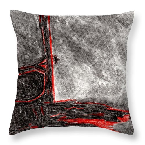 Horse Throw Pillow featuring the drawing Nighttime Sins by Adam Emery