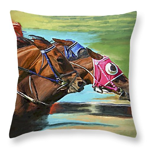 Horses Throw Pillow featuring the painting Nikita By A Head by David Wagner